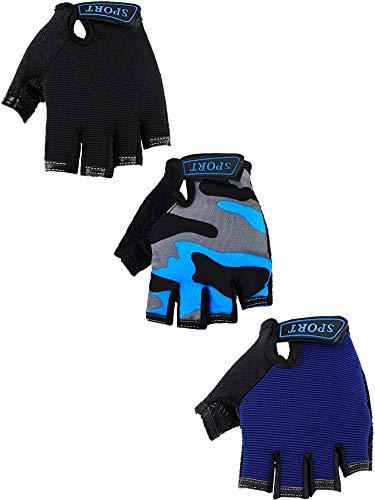 3 Paare Kinder Halbfinger Handschuhe Sport Handschuhe rutschfeste Gel Handschuhe für Kinder Radfahren Reiten (Blau, Grau Tarnung, Schwarz, 6-10 Jahre Groß)