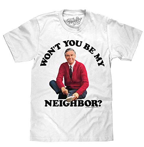 Tee Luv Mr Rogers T-Shirt - Won't You Be My Neighbor Mister Rogers Shirt (Small) White