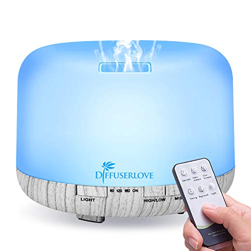 Diffuserlove Diffuser 500ML Essential Oil Diffuser Remote Control Ultrasonic Air Scented Aroma Diffuser Humidifier with 7 Color LED Lights for Office Home Bedroom Living Room