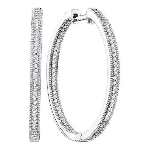 10kt oro bianco donna rotonda diamante dentro fuori orecchini a cerchio 1/2Cttw