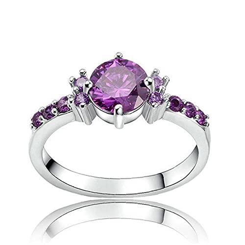 Anillos De Dedo Llenos De Violeta con Piedra Plateada Plateada Púrpura Lila Lujo Verano Lindo Romance Mujeres con Joyas Completas