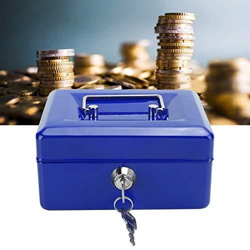 Jopwkuin Cajas de Seguridad, Caja de Efectivo Material de Acero de Calidad Diseño liviano y portátil para el hogar para el automóvil(Blue)