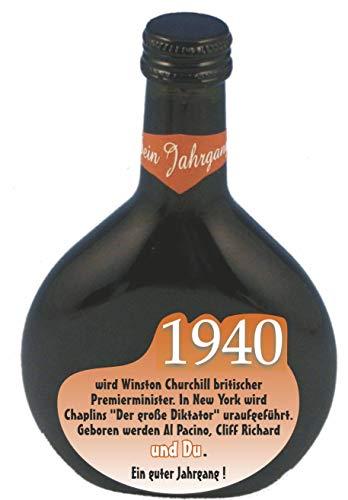 QUATSCHmanufaktur Bocksbeutel zum 80. Geburtstag (für Jahrgang 1940) Rotwein 0,25 l