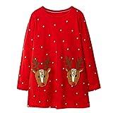 Kfnire Vestido de Niñas de manga larga casual Animal Print vestido para 12 años ciervos para Bebé niña 12 a Rojo, L#rojo