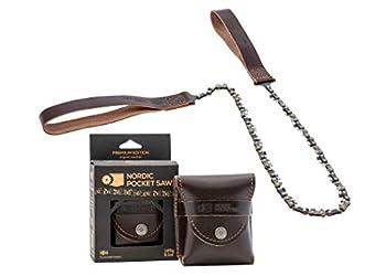 Nordic Pocket Saw Scie à Main - Tronçonneuse Portable - Scie Manuelle Chaîne 65 cm - Fil à Scier Premium - avec Poignées et Etui en Cuir - Scie Chaîne Portable - Scie de Survie Camping Randonnées