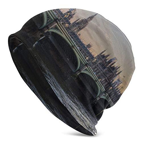 BGDFN London Bridge y Bell Tower Gorro de Punto Gorro cálido Gorros de Calavera con puños Suaves elásticos Gorro Diario para Unisex Negro