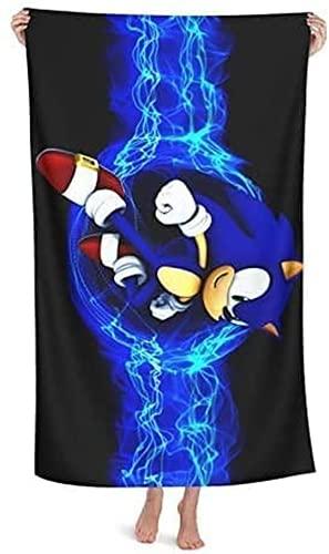 QWAS Sonic The Hedgehog - Toalla de playa con dibujos animados anime, toalla de viaje, suave y esponjosa, muy adecuada para la playa (A03,70 cm x 140 cm)