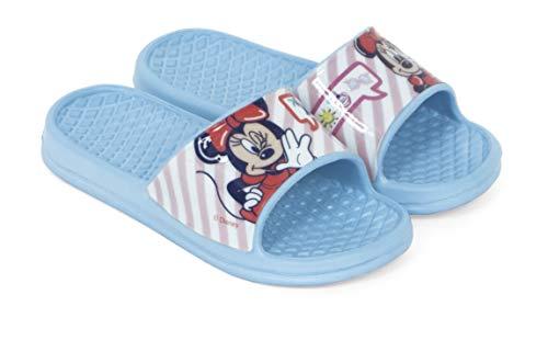 Chanclas Minnie Mouse para Playa o Piscina - Flip-Flop Minnie Mouse Disney para niñas (Aguamarina, 26)