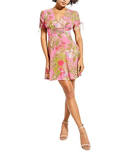 GUESS Womens Pierre Fit & Flare Dress, Pink, X-Small