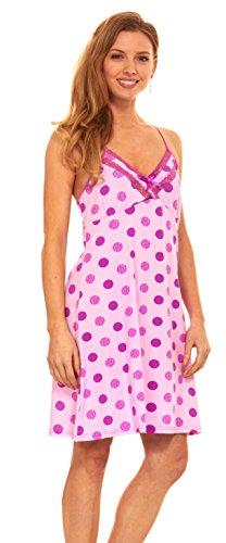 Womens Sleepwear Pajama Lingerie Nightgown - Full Slip Lace Lounge Chemise Dress (L, Purple-5016/19)