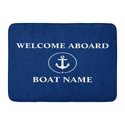 Felpudos personalizados Náutica Bienvenida Ancla Cuerda Nombre del barco Alfombrillas para el hogar Alfombrilla de entrada Alfombra del piso Interior / Exterior / Puerta principal / Alfombras de baño