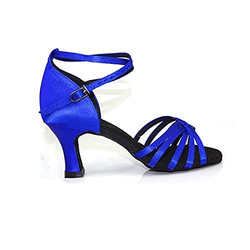 Wygwlg Zapatos de Baile Latino Profesionales para Mujer, Zapatos de Salsa de salón de satén para Mujer, Zapatos de Baile de salón para Mujer, Sandalias (Color : Blue 7cm, Size : 39 EU)