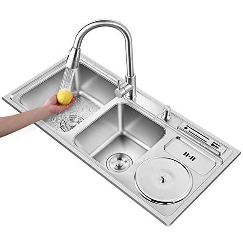 SHATONG Lavello da Cucina in Acciaio Inossidabile, lavelli Quadrati a Doppia Vasca con poggia-Coltello e pattumiera, Inclusi Dispenser di Sapone e raccordi di drenaggio