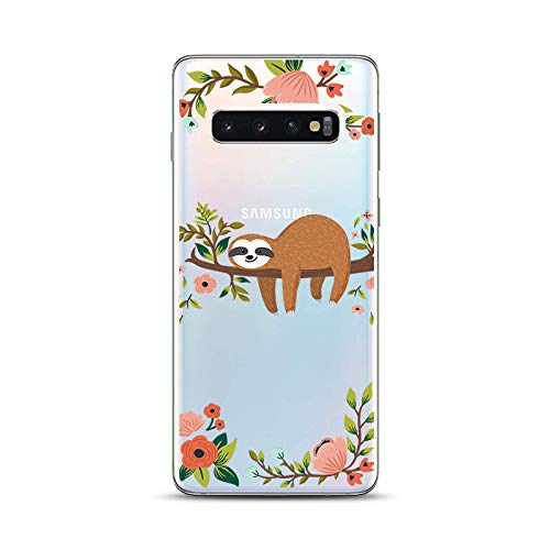 Samsung Galaxy S10 Case,Blingy's New Fun Animal Style Transparent Clear Soft TPU Protective Rubber Case for Samsung Galaxy S10 (Sleeping Sloth)