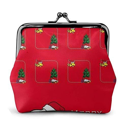 Schnalle Geldbörsen Frohe Weihnachten Snoopy Red Pouch Kiss-Lock Geldbörse Geldbörse wechseln