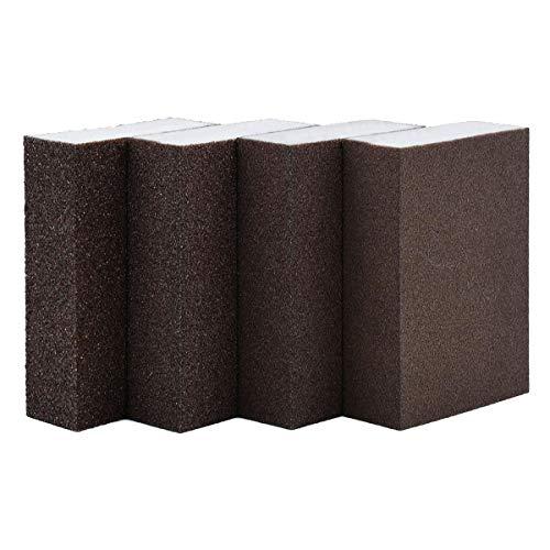 BEADNOVA Sanding Sponge Sand Block Coarse/Medium/Fine/Superfine Assorted Dry Wet Sanding Blocks for Wood Wall Home (Pack of 4, 4 Grit)