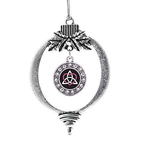 Inspired Silver - Celtic Sisters Knot Charm Ornament - Silver Circle Charm Holiday Ornaments with Cubic Zirconia Jewelry