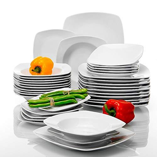 ZLDGYG Conjunto de Cena de Porcelana de 36 Piezas Cena de Cena Placas de Postre Set para 12 Personas Porcelana Sana y Duradera
