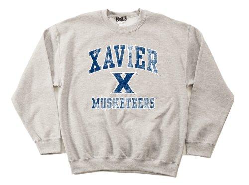 Xavier Musketeers 50/50 Blended 8-Ounce Vintage Mascot Crewneck Sweatshirt, Large, Sport Grey