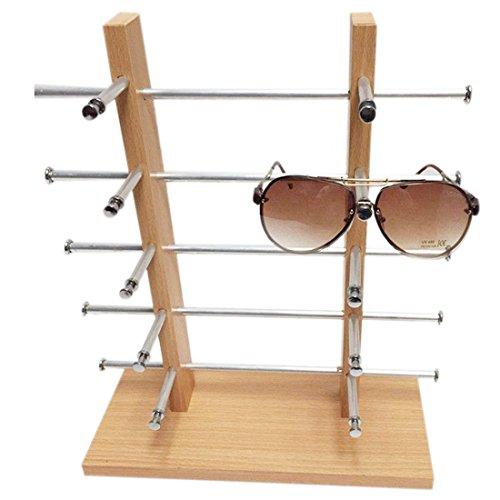 FOKOM Holz Brillenregal Brillenständer Brillenhalter Brillenablage Halter Sonnenbrillenständer Brillen Organizer Brillen Display für 10 Brillen Lesebrillen Sonnenbrillen