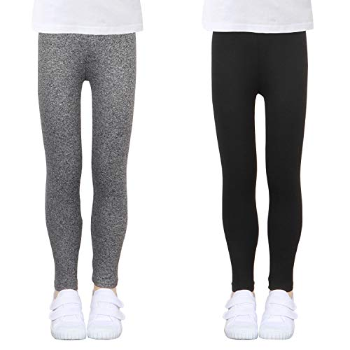 LUOUSE Toddler Girls Stretch Athletic Leggings Little Kids Yoga Pants 2 Pack Sets Ankle Length Size 12T - 13T Black Grey