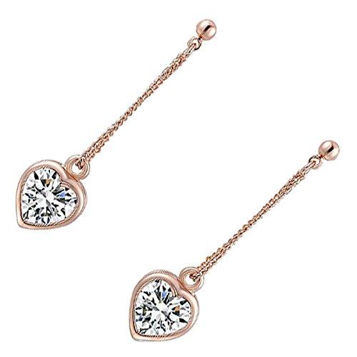 GWG Jewellery Orecchini Donna Regalo Orecchini Pendenti Classici Placcati Oro Rosa 18K Cuore con Scintillante Cristallo Zirconia Cubica AAA per Donne