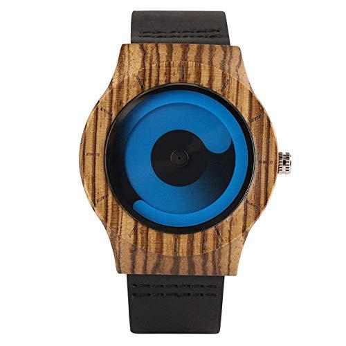 Yxxc Wooden Watch Wooden Watch Men Creative Swirl Dial Blue/Purple Casual Man Wrist Watch Leather Band Handmade Wood Clock Male Gift