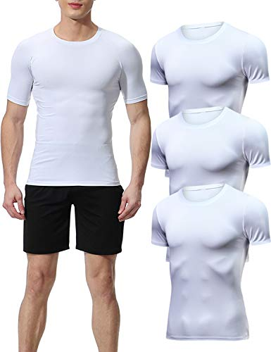 Lavento Men's Compression Shirts Cool Dry Short Sleeve Workout Slimming T Shirt (3 Pack-Crew Neck White,Medium)