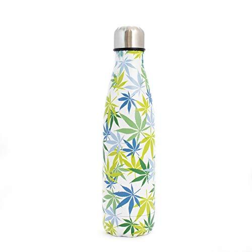 PAIDE P Botella de Agua en Acero Inoxidable.Sin BPA Doble pared Térmica Aislante, Bebidas Frías y Calientes, té, café. Ideal para Deporte, Oficina. Antigoteo. 500 ML.(Modelo 1 - Marihuana)