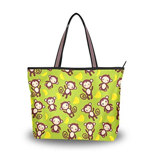 Ahomy Bolso de hombro divertido con diseño de mono, color amarillo, para actividades al aire libre, gimnasio, senderismo, picnic, viajes, playa, color Multicolor, talla M