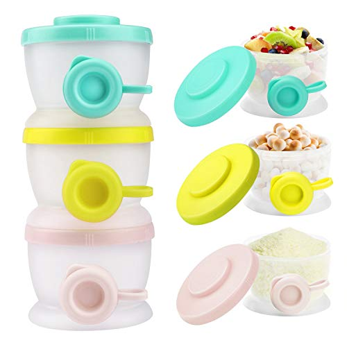 Zooawa Baby Formula Dispenser, Non-Spill Stackable Milk Powder Formula Container Formula Holder Snack Fruit Biscuits Storage for Travel, On-The-Go, BPA Free, 3 Compartments