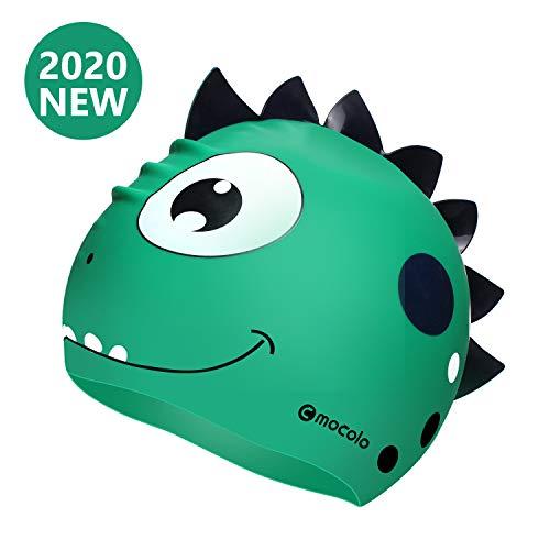 Mocolo Kinder Badekappe, große lustige Silikon-Badekappe für Jungen und Mädchen, wasserdicht, mit süßem Cartoon-Design, sicheres Material, Badekappe für Kinder, lange Haare, grün