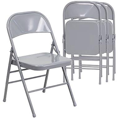 Flash Furniture 4 Pk. HERCULES Series Triple Braced & Double Hinged Gray Metal Folding Chair