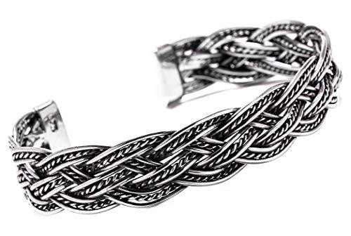 Windalf Großer Vintage Asatru Vikings Armreif Riordan Ø 6.8 cm Unisex Bohemia Flechtmuster Armschmuck Trachtenschmuck Handarbeit aus 925 Sterlingsilber
