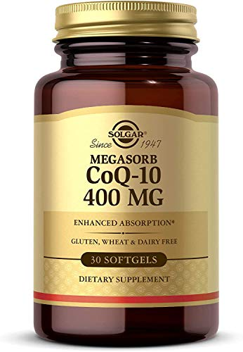 Solgar Megasorb CoQ-10 400 mg, 30 Softgels - Supports Heart & Brain Function - Coenzyme Q10 Supplement - Enhanced Absorption - Gluten Free, Dairy Free - 30 Servings