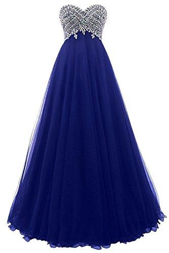 Damen Elegant Abendkleider A-Linie Lang Ärmellos Tülle Ballkleider Spitzenkleider Brautjungfern Hochzeit Partykleider Königsblau 38
