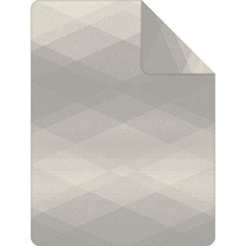 Ibena Seattle Kuscheldecke 150x200 cm - Rautenmuster Decke grau wollweiß, Pflegeleichte und kuschelweiche Baumwollmischung
