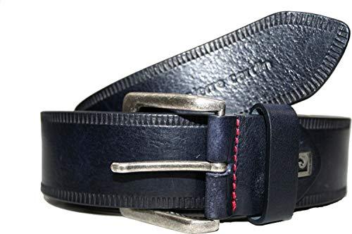 Pierre Cardin Ledergürtel Gürtel 40 mm breit 70276 marine, cognac oder schwarz, Farbe:Marine, Gürtelgröße Bundweite:90