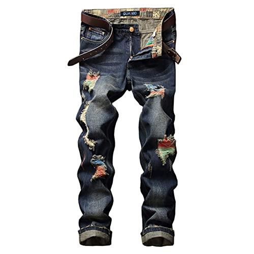 メンズスリムストレートフィットジーンズユーズド加工破れたヒップホップファッションクラシックデニムパンツストリートヴィンテージウォッシュドストレッチパンツブルー