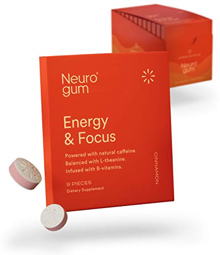 Neuro Gum Nootropic Cinnamon Flavor Energy Gum | Caffeine + L-theanine + B Vitamins | Sugar Free + Gluten Free + Non GMO + Vegan | CinnaMental Flavor (108 Count)