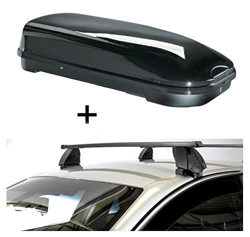 Dakkoffer VDPFL580 liter zwart glanzend + imperiaal K1 MEDIUM compatibel met Toyota Prius IV (XW50) (5-deurs) vanaf 15