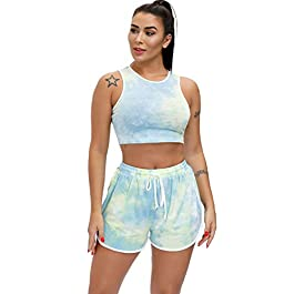 EVELIFE Women Tie Dye Active Wear Sports Crop Tops + Drawstring Workout Yoga Shorts Sports Pants for Gym Fitness Exercises