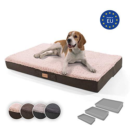 brunolie Balu extra großes Hundebett in Beige, waschbar, orthopädisch und rutschfest, kuscheliges Hundekissen mit atmungsaktivem Memory-Schaum, Größe XL (120 x 72 x 10 cm)