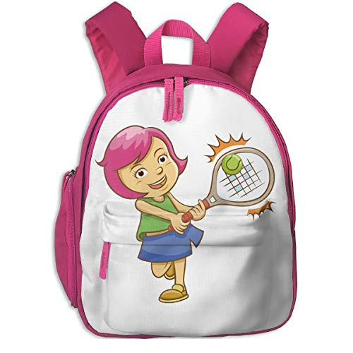 JKSA School Backpack for Student Cute Badminton Powder Hair Girl Cartoon Backpacks Book Bag