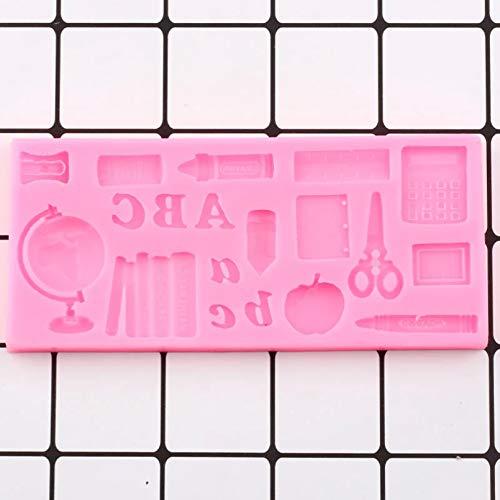 SUNIY SchulstudienwerkzeugeGlobe Book Scissor Drawing Pen SilikonformKuchen Dekorationswerkzeuge DIY Candy Chocolate Gumpaste Mold