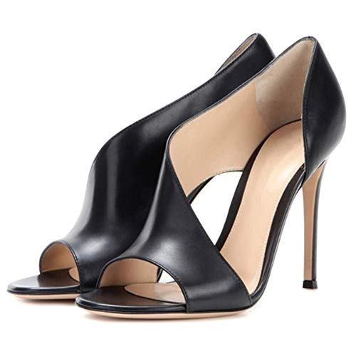 Keepbest High Heels Damen Sommer High Heels Sandalen Peep Toe PU Frauen Schuhe für Freizeit Büro, 39