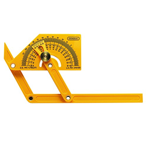 General Tools 29 Plastic Protractor and Angle Finder, Outside, Inside, Sloped Angles, 0° to 180° , Yellow