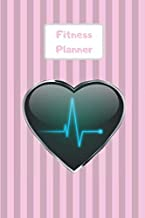 Fitness Planner: Workout log & measurement, weight loss progress tracker. Weekly meal planning. Handy to write in on the go or at the gym. Pink stripe design with heart wave