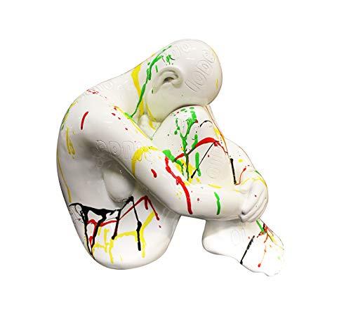Meubletmoi Scultura di Donna in ripiegamento–Bianco Laccato con getti di Pittura–Oggetto Design Decorazione