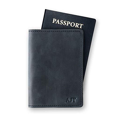 PEGAI Personalized Passport Cover | Distressed Leather Passport Holder | Rustic Passport Case | DEKALB (Charcoal Black)